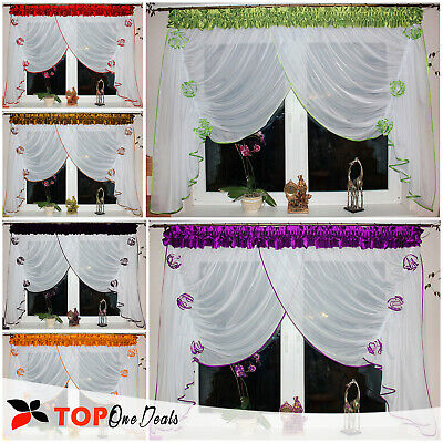 Amazing Voile Net Curtains Ready Made With Flowers Modern Living Dining Room New • 19.99£