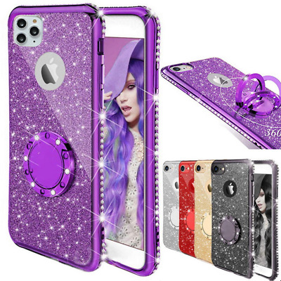 AU6.45 • Buy Glitter Bling Rubber Case Ring Holder Cover For IPhone 12 11 Pro Max XS 8 6S 7 +