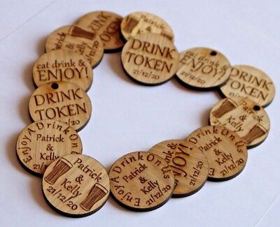 Personalised Oak Drink Tokens Wedding Favours CirclesParty Celebration Wooden • 6.99£