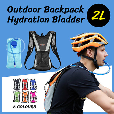 AU19.04 • Buy Hydration Pack + 2L Water Bag Hiking Camping Bicycle Backpack Bladder Cycling