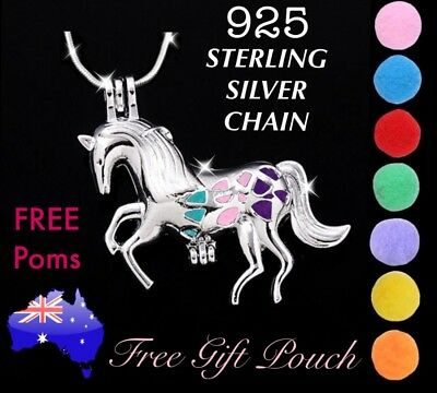 AU9.20 • Buy Horse Pony Essential Oil Diffuser Locket 925 Sterling Silver Chain Necklace Gift