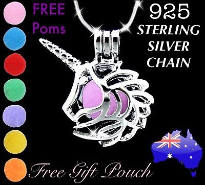 AU9.50 • Buy Unicorn Essential Oil Diffuser Locket 925 Sterling Silver Chain Necklace Gift