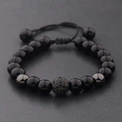 $6.99 • Buy Charm Men's Bright Zircon Micro Pave Black Natural Stone Round Beaded Bracelets