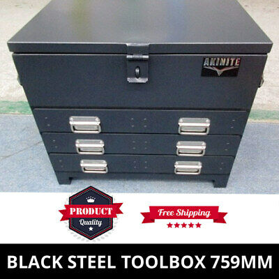 AU499 • Buy Black Steel Toolbox 759mm Truck Box Ute Box Industrial With 3 Drawers & Trays
