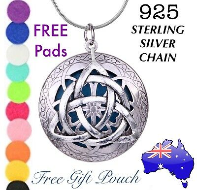 AU14.50 • Buy Triquetra Celtic Knot Essential Oil Diffuser Locket 925 Sterling Silver Necklace