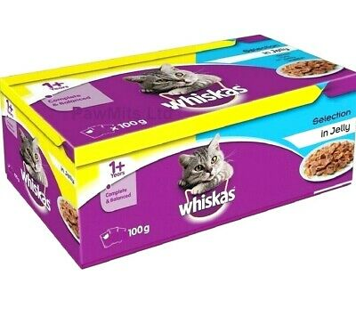 WHISKAS 1+ POUCHES - 100g (x12 / X40) - Cat Food Jelly Pet Feed Meal Bp PawMits  • 17.99£