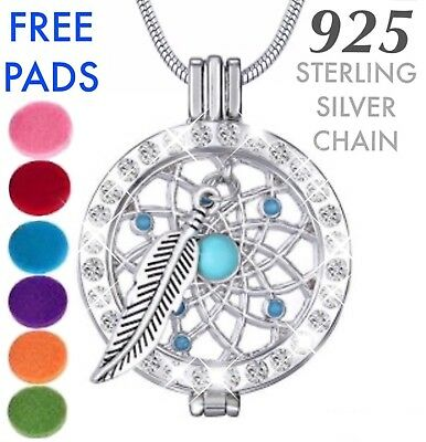AU14.60 • Buy Silver Crystal Dreamcatcher Essential Oil Diffuser Locket Pendant Necklace Gift