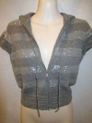 $16.16 • Buy 100% Cashmere Sequin Zip Front Hooded Short Sleeve Jacket May Fit XS XSP