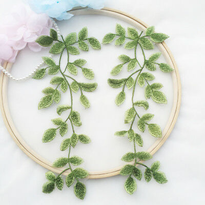 £3.69 • Buy Green Leaves Lace DIY Trim Embroidery Costume Motif Bridal Dress Applique 1 Pair