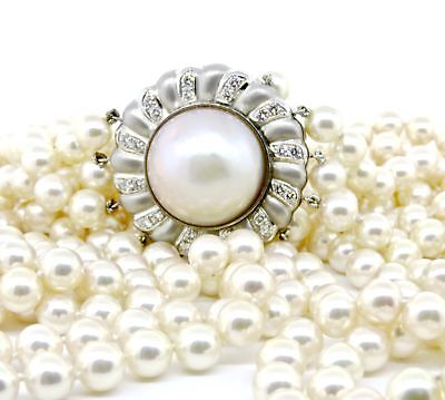 $10400 • Buy GAL Certified - Vintage Lady's Mabe Pearl With 24 Diamond Clasp Custom Made B...