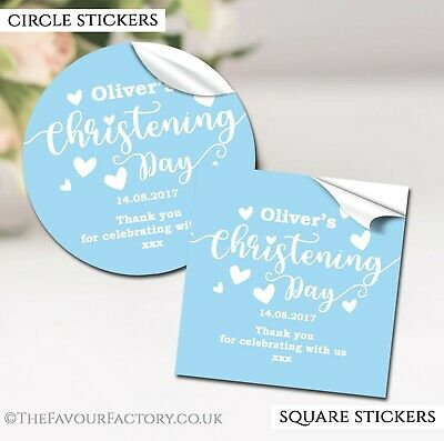 Christening Favours Stickers Personalised Love Hearts Blue Gloss 1x A4 Sheet • 2.40£