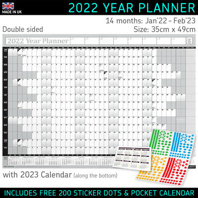 2021 Year Planner Calendar Wall Chart Yearly Planner BLUE + FREE Desk Calender • 2.95£