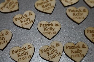 Wooden Love Heart Table Decorations Personalised Wedding Favours Confetti • 1.99£