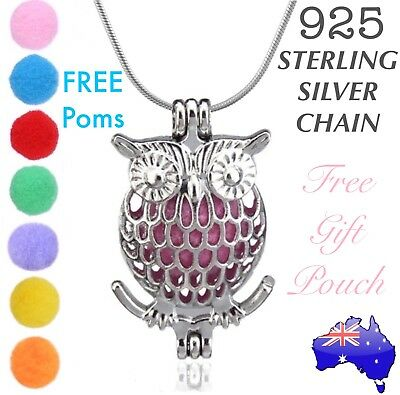 AU9.05 • Buy OWL Essential Oil Diffuser Locket Pendant 925 Sterling Silver Chain Necklace NEW