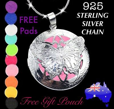 AU11.50 • Buy Butterfly Essential Oil Diffuser Locket 925 Sterling Silver Chain Necklace Gift