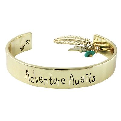 NEW Indie Boho Chic Adventure Awaits Arrow Feather Dangle Charm Cuff Bracelet • 7.24£