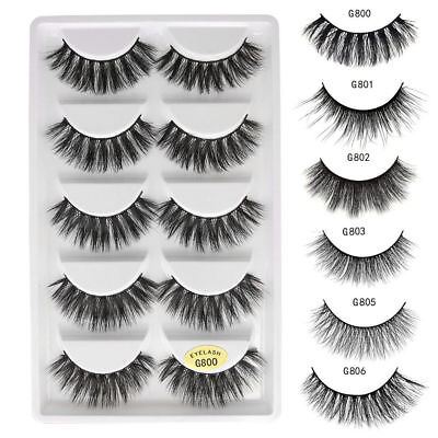AU10.99 • Buy 3D 5 Pairs Mink Natural Thick False Fake Eyelashes Eye Lashes Makeup Extension