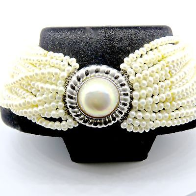 $5200 • Buy GAL Certified - 18K White Gold Disc Clasp With Mabe Pearl Clasp Custom Made B...