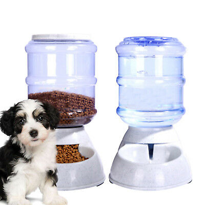 2Pcs Automatic Pet Food Drink Dispenser Dog Cat Feeder Water Bowl Dish 3.5L UK • 15.99£