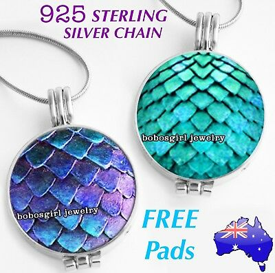 AU14.50 • Buy Mermaid Scales Aromatherapy Essential Oil Diffuser 925 Sterling Silver Necklace