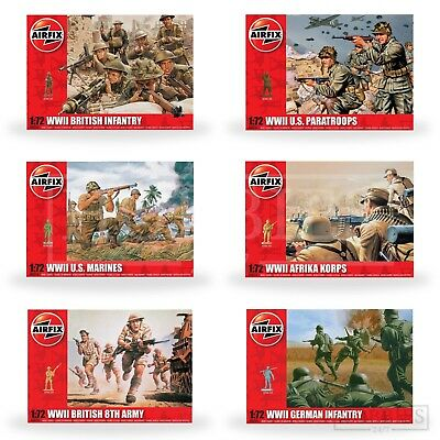 Airfix WW2 Figures 1:72 Model Kit 48 Army Soldiers British German US Infantry • 7.99£