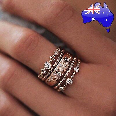 AU8.95 • Buy 5Pcs Crystal Rose Gold Stackable Ring Set Boho Jewellery Gift 5 Rings Women's