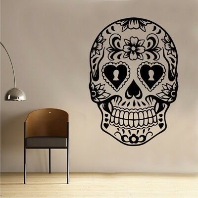 Day Of The Dead Skull Wall Sticker Gothic Horror  • 12.99£
