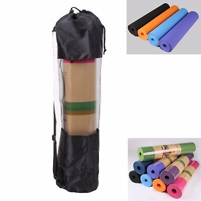 AU24.99 • Buy TPE Yoga Mat Exercise Fitness Eco Friendly Non Slip Dual Layer +Carry Bag &Strap
