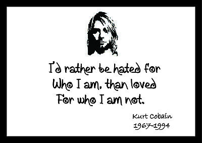 Kurt Cobain 1 - Motivational Inspirational Typography Famous Quote Posters • 4.99£