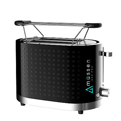 AU38 • Buy Mussen Toaster 2 Slice Electric Black & Silver With Warming Rack Crumb Tray