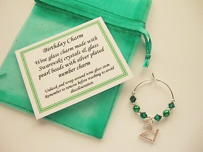 Birthday - May / Emerald - Wine Glass Charm - 16th/18th/21st/30th/40th/50th/60 • 1.25£