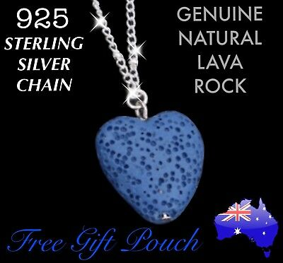 AU10.50 • Buy Natural Lava Rock Stone Heart Essential Oil Diffuser Sterling Silver Necklace