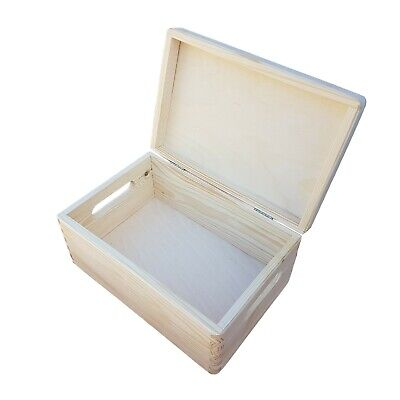 WOODEN BOX STORAGE 30 X 20 X 13.5 Cm IN FOUR TYPES OF FINISHING FOR  DECOUPAGE  • 13.99£