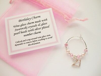 Birthday October / Rose - Wine Glass Charm -16th/18th/21st/30th/40th/50th/60 • 1.25£