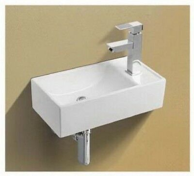 £34.99 • Buy Basin Sink Wall Mounted Right Hand Square Small Mini Cloakroom Bathroom 41x21cm