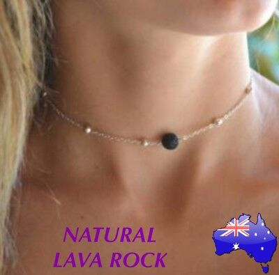AU7.95 • Buy Natural Lava Rock Stone Aromatherapy Essential Oil Diffuser Choker Necklace Gift