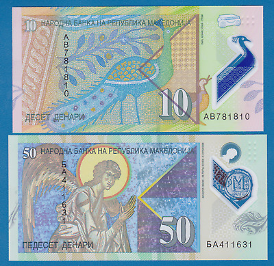 $2.59 • Buy Macedonia 2 Notes, 10 + 50 Denar P New 2018 UNC Polymer, Low Shipping! Combine!