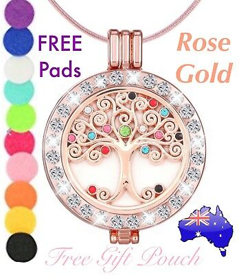 AU15.50 • Buy Crystal Tree Of Life Rose Gold Essential Oil Aroma Diffuser Locket Necklace Gift