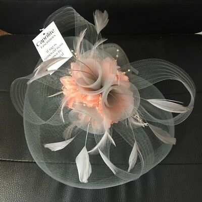Silver Grey And Peach Pink Fascinator Hat Hatinator Headband Hair Clip Wedding • 14.99£