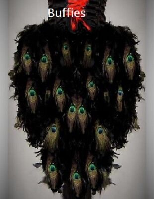 Ladies Long Peacock Feather Tail Gothic Steampunk Burlesque Bustle Small-Plus • 45£
