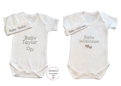 £9.99 • Buy Personalised Embroidered Bodysuit Vest Hat Gift Set Baby Shower Unisex  Clothes