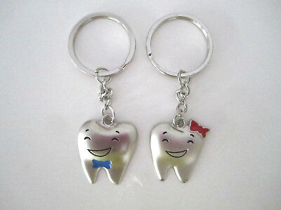 Dental Jewelry 2 Tooth Shape Key Chains Dentist Hygienist Dental Assistant Gifts • 7.63£