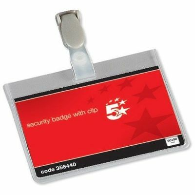 50 X Conference Visitor Name Badges Security Landscape With Plastic Clip 60x90mm • 12.99£