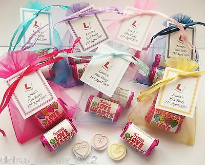 Personalised Hen Party/Hen Night Favours - Love Heart Sweet Bags B • 0.99£