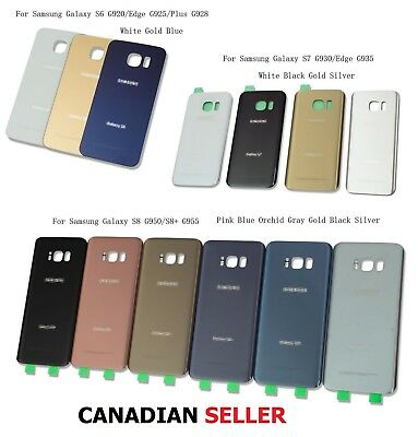 $ CDN13.99 • Buy Battery Cover Back Glass Door For Samsung Galaxy S6 S7 Edge S8 S9 + Note 5 & 8