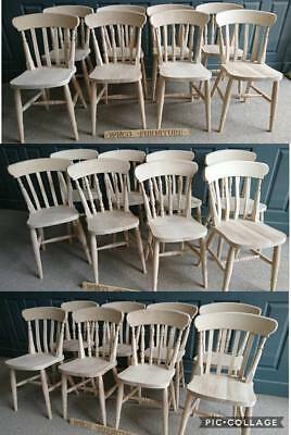 £80 • Buy Brand New Solid Beech Slat, Spindle, Fiddle Back Farmhouse Kitchen Dining Chairs