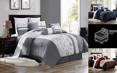 $25 • Buy Bedroom Collection Floral Embroidery Duvet Comforter Top Cover Bed 3pc Set