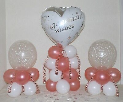 £9.99 • Buy ENGAGEMENT - Rose Gold - 3 Pack Party Set -Table Balloon Decoration Display Kit