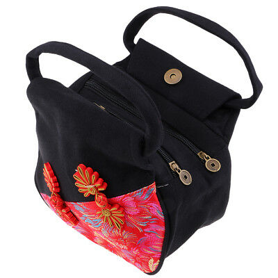 Chinese Style Embroidery Handbag Canvas Ethnic Embroidered Tote Bag Black • 7.85£