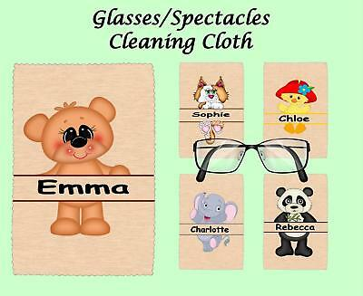 Personalised Name & Cute Animal Glasses/spectacles Cleaning Cloth Gift Idea • 2.75£